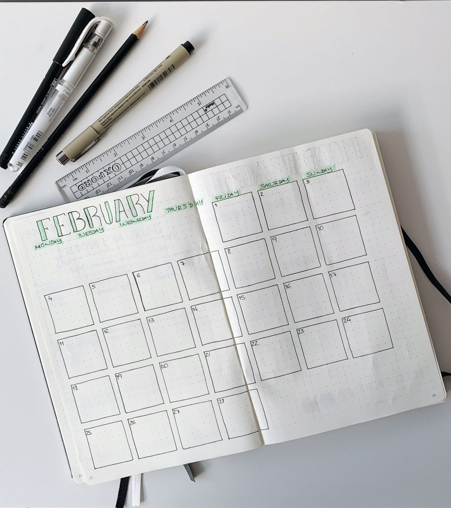 Setting up February Bullet Journal